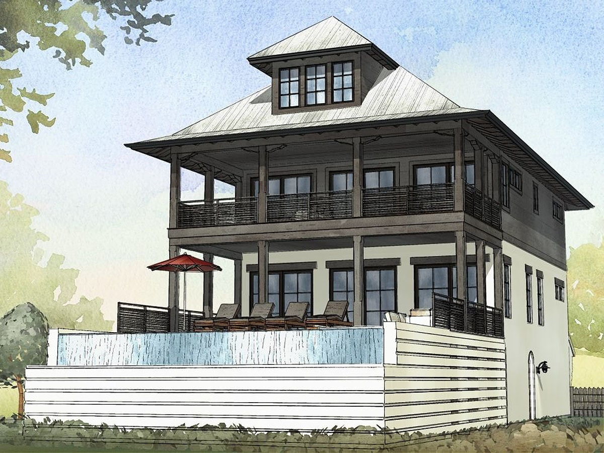 Rear rendering of the three-story 4-bedroom beach home.