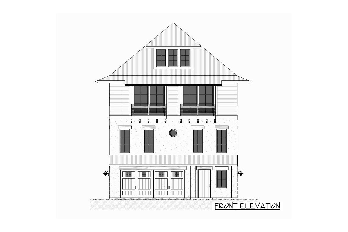 Front elevation sketch of the three-story 4-bedroom beach home.