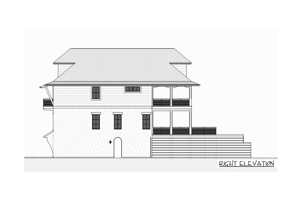 Right elevation sketch of the three-story 4-bedroom beach home.
