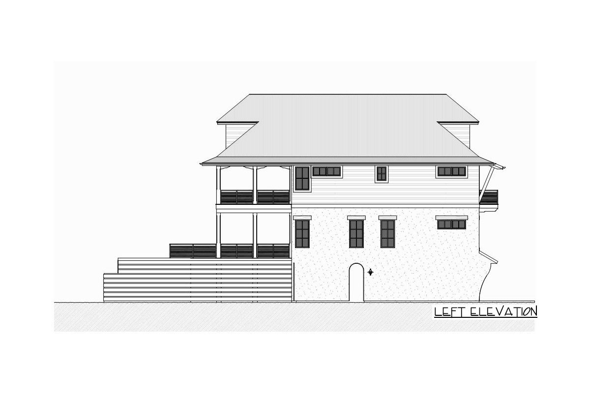 Left elevation sketch of the three-story 4-bedroom beach home.