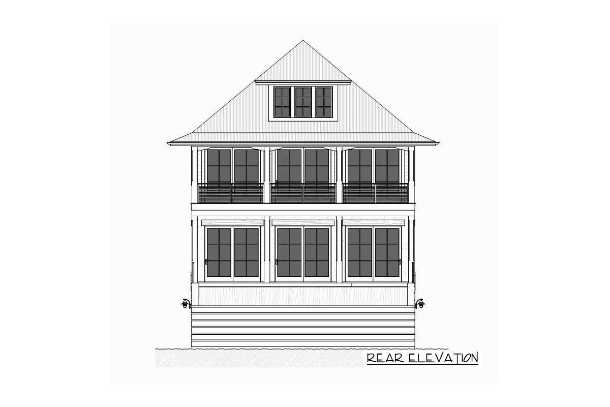 Rear elevation sketch of the three-story 4-bedroom beach home.