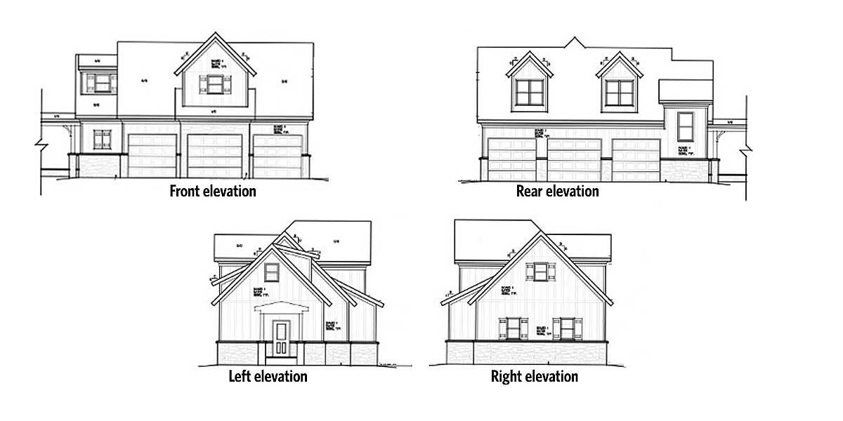Front, right, left, and rear elevations of the two-story 1-bedroom rustic carriage home.