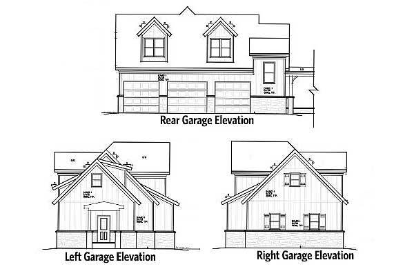 Rear, left, and right garage elevations of the two-story 1-bedroom rustic carriage home.