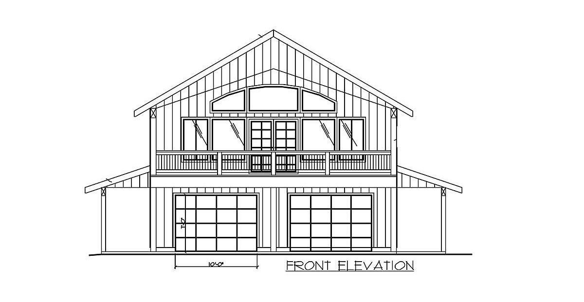 Front elevation sketch of the two-story 2-bedroom carriage home.