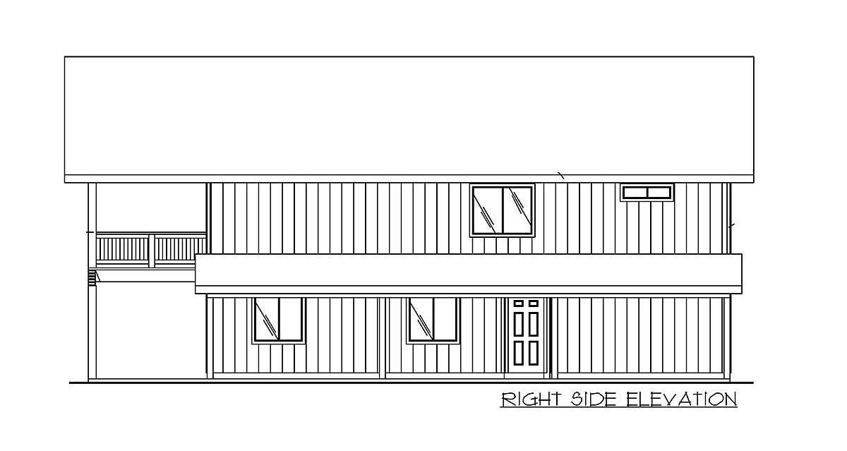 Right elevation sketch of the two-story 2-bedroom carriage home.