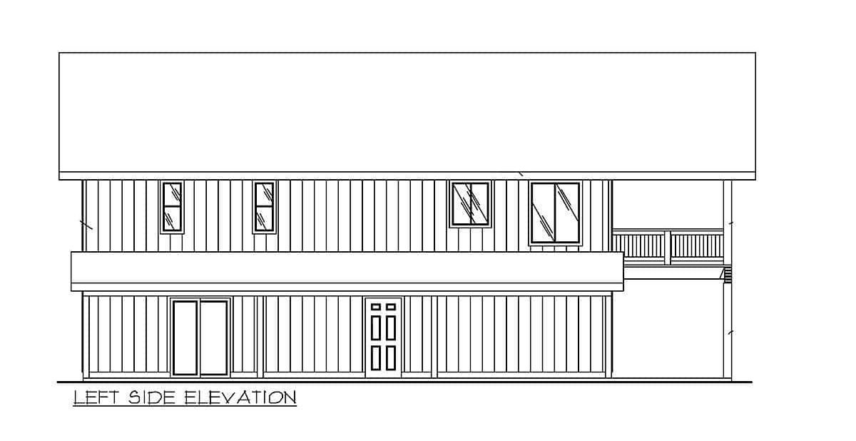 Left elevation sketch of the two-story 2-bedroom carriage home.