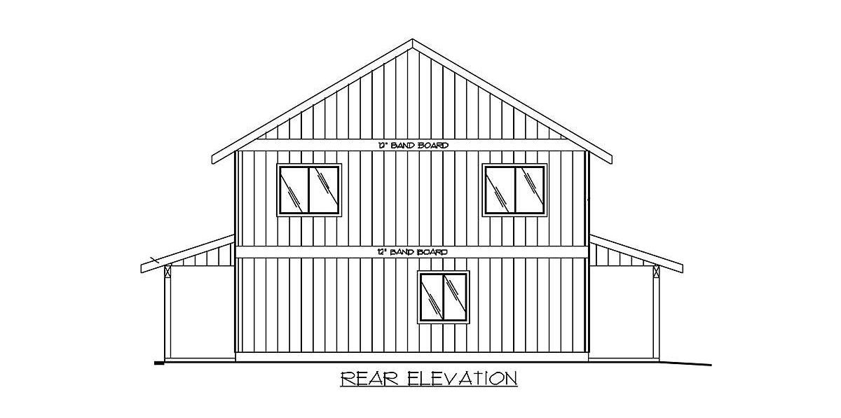 Rear elevation sketch of the two-story 2-bedroom carriage home.