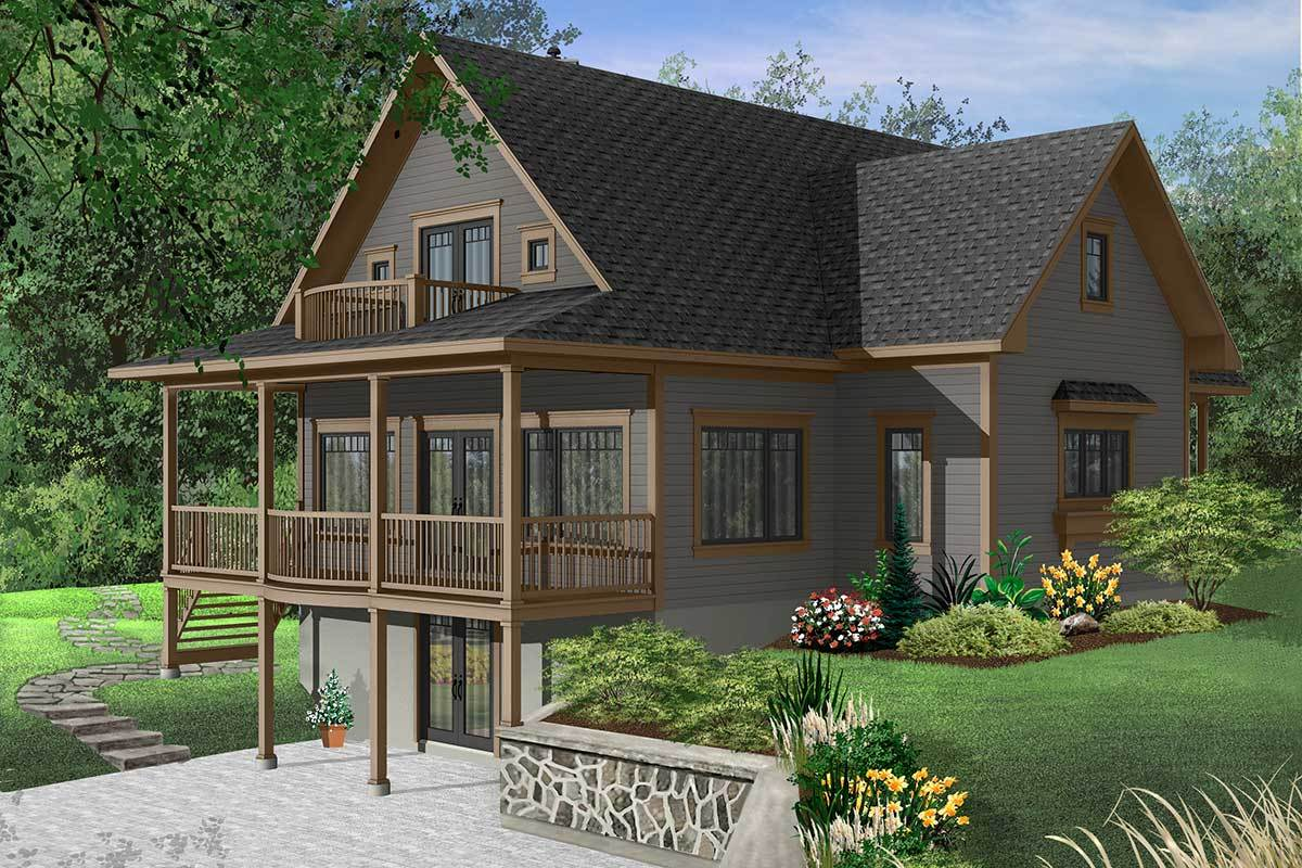 Front rendering of the two-story 3-bedroom dream cottage.
