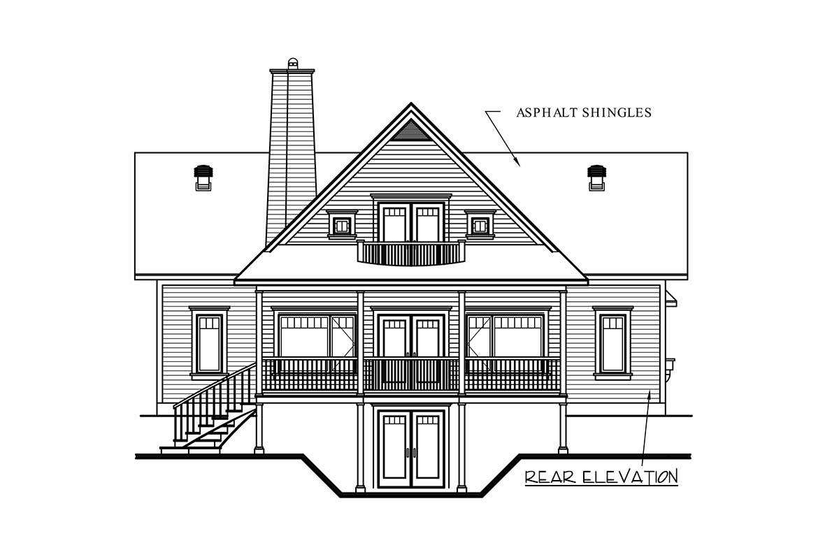 Rear elevation sketch of the two-story 3-bedroom dream cottage.