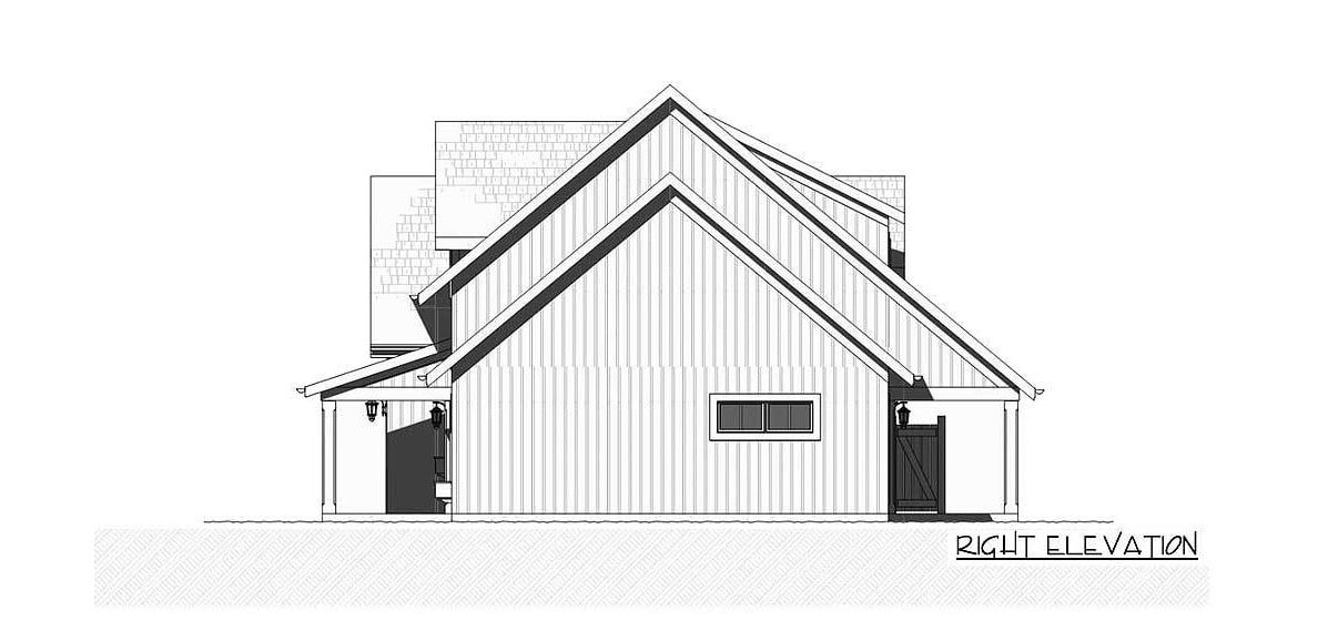 Right elevation sketch of the two-story 3-bedroom farmhouse.