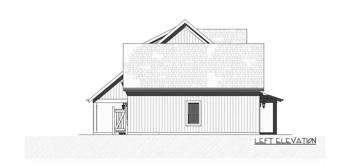 Left elevation sketch of the two-story 3-bedroom farmhouse.