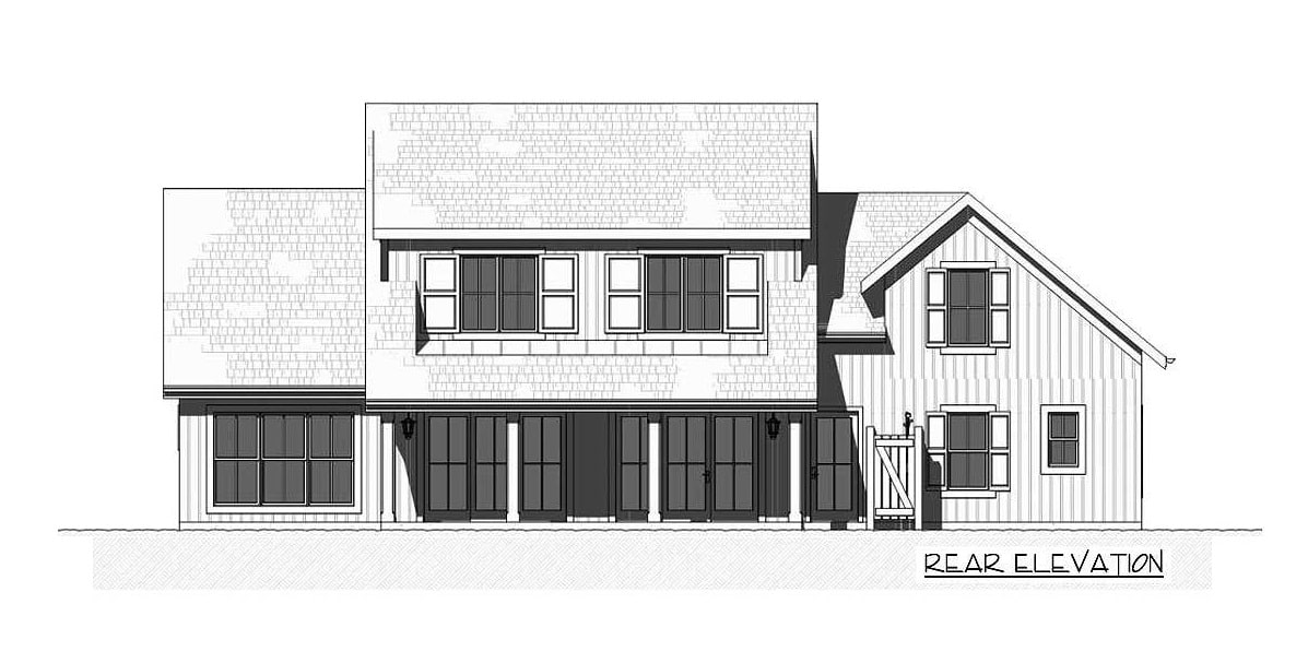 Rear elevation sketch of the two-story 3-bedroom farmhouse.