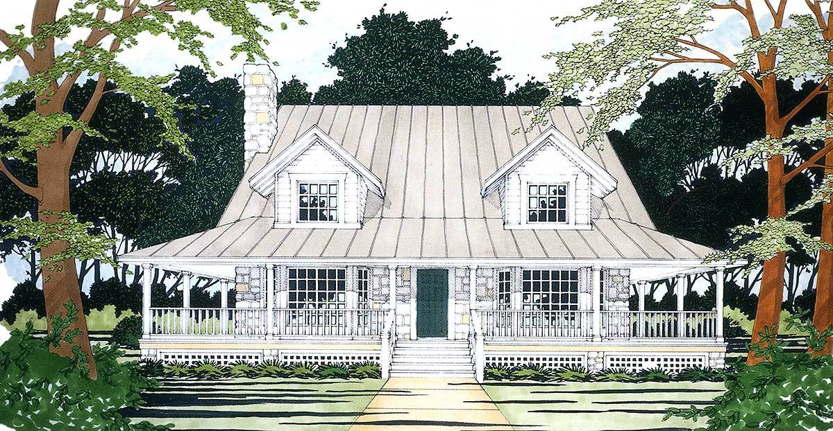 Front perspective sketch of the two-story 3-bedroom Southern home.