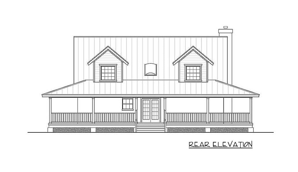 Rear elevation sketch of the two-story 3-bedroom Southern home.