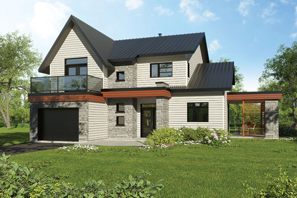 Front rendering of the two-story 4-bedroom Azalea contemporary home.