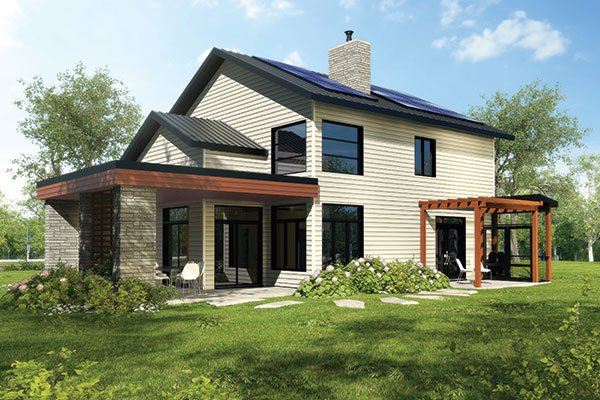 Rear rendering of the two-story 4-bedroom Azalea contemporary home.