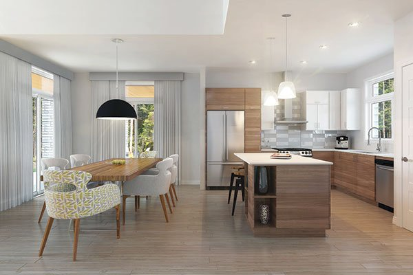 The kitchen is equipped with stainless steel appliances, wooden cabinets, and a center island.