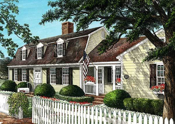 Front perspective sketch of the two-story 4-bedroom cape cod home.
