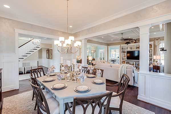 From the dining room, you have a great view of the foyer and family room.