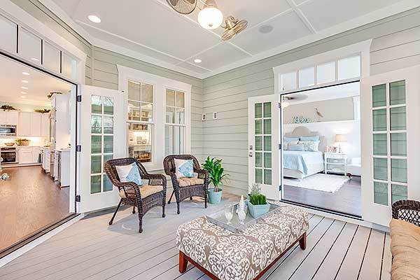 The flexible office/bedroom opens to the screened porch.