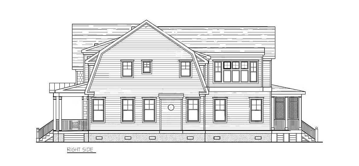 Right elevation sketch of the two-story 4-bedroom coastal country home.