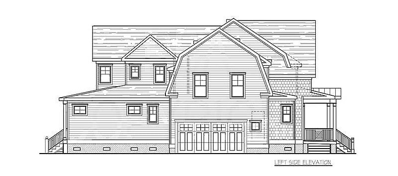 Left elevation sketch of the two-story 4-bedroom coastal country home.