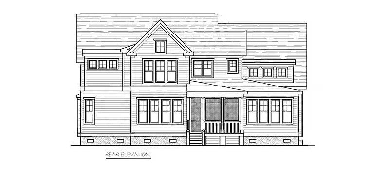 Rear elevation sketch of the two-story 4-bedroom coastal country home.
