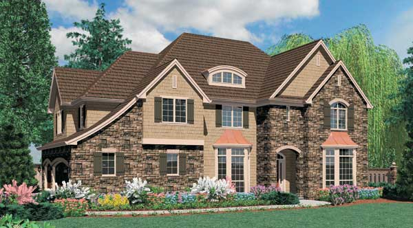 Front rendering of the two-story 4-bedroom French country Cramlington home.