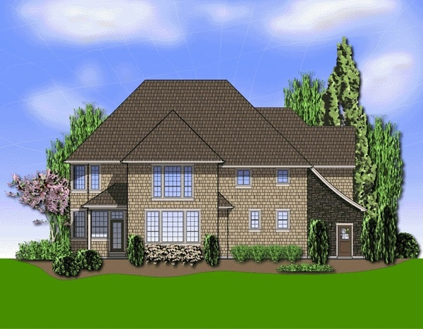 Rear rendering of the two-story 4-bedroom French country Cramlington home.