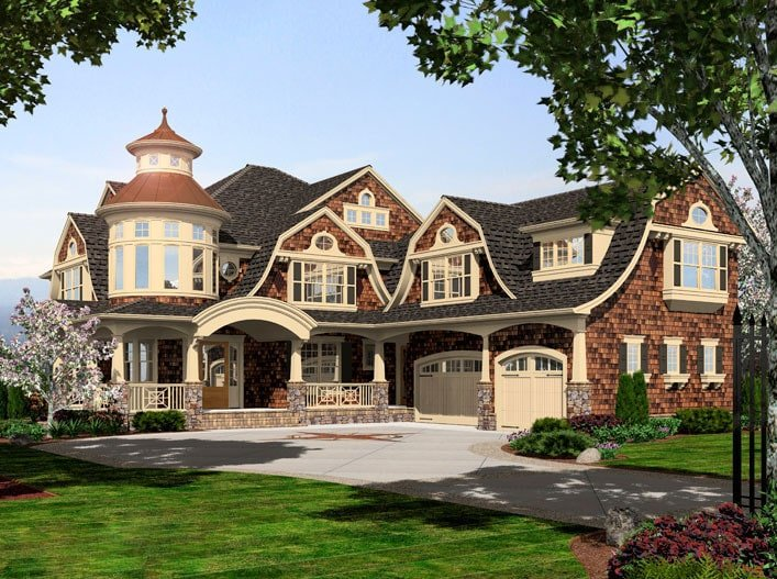 Two-Story 4-Bedroom Grand Shingle-Style Home with Gambrel Rooflines