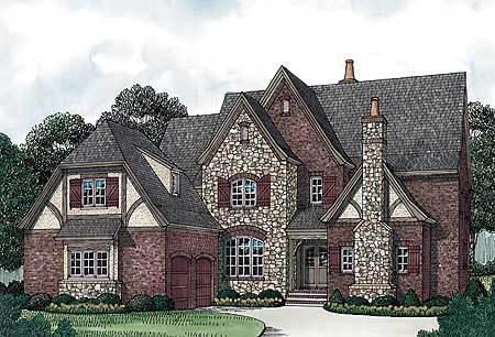 Perspective sketch of the two-story 4-bedroom ornate Tudor home.