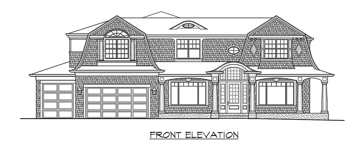 Front elevation sketch of the two-story 4-bedroom Shingle style home.