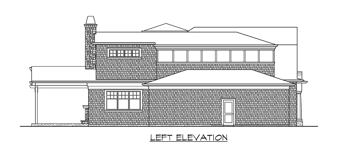 Left elevation sketch of the two-story 4-bedroom Shingle-style home.