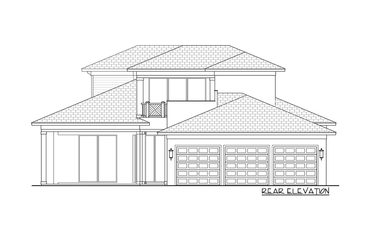 Rear elevation sketch of the two-story 4-bedroom Southern home.