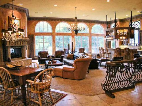 An open layout view showing the dining area, family room, and kitchen.
