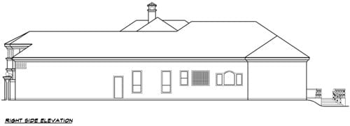 Right elevation sketch of two-story 4-bedroom Vaquero Mediterranean home.