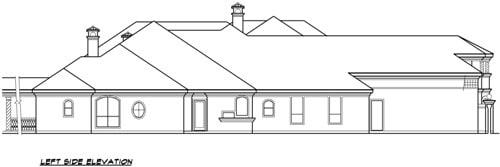 Left elevation sketch of two-story 4-bedroom Vaquero Mediterranean home.