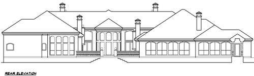 Rear elevation sketch of two-story 4-bedroom Vaquero Mediterranean home.