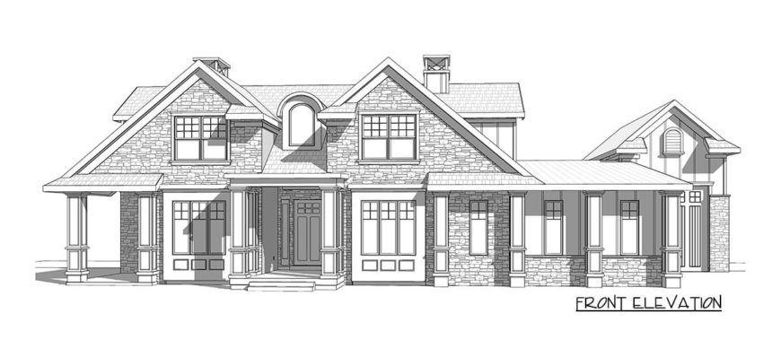 Front elevation sketch of the two-story 5-bedroom country craftsman.