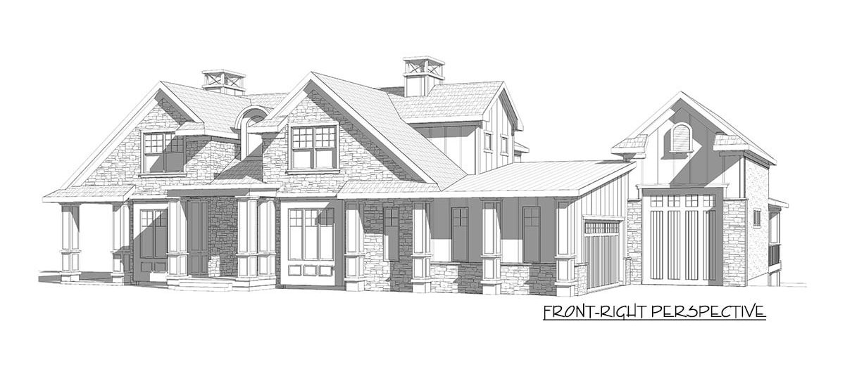 Front-right perspective sketch of the two-story 5-bedroom country craftsman.