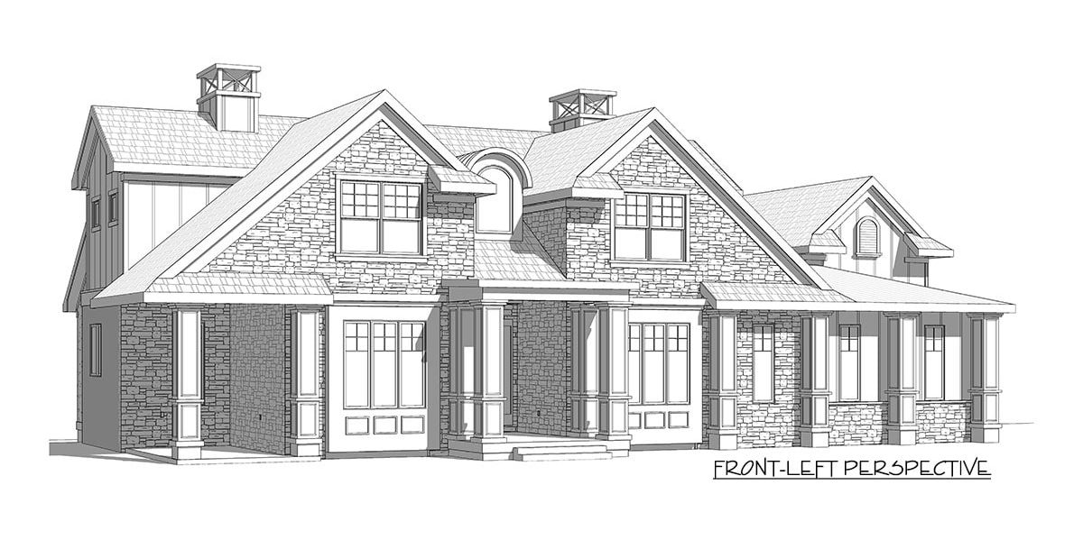 Front-left perspective sketch of the two-story 5-bedroom country craftsman.