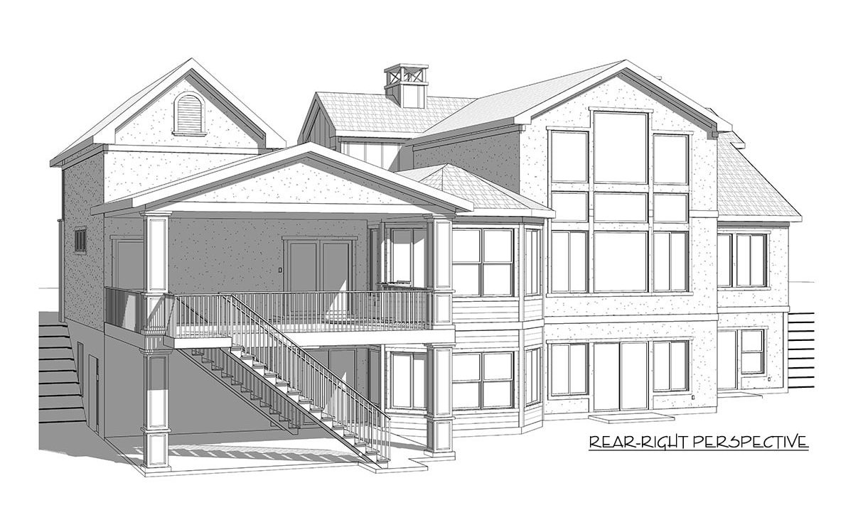 Rear-right perspective sketch of the two-story 5-bedroom country craftsman.