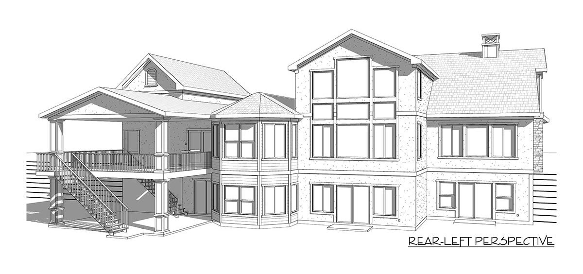 Rear-left perspective sketch of the two-story 5-bedroom country craftsman.