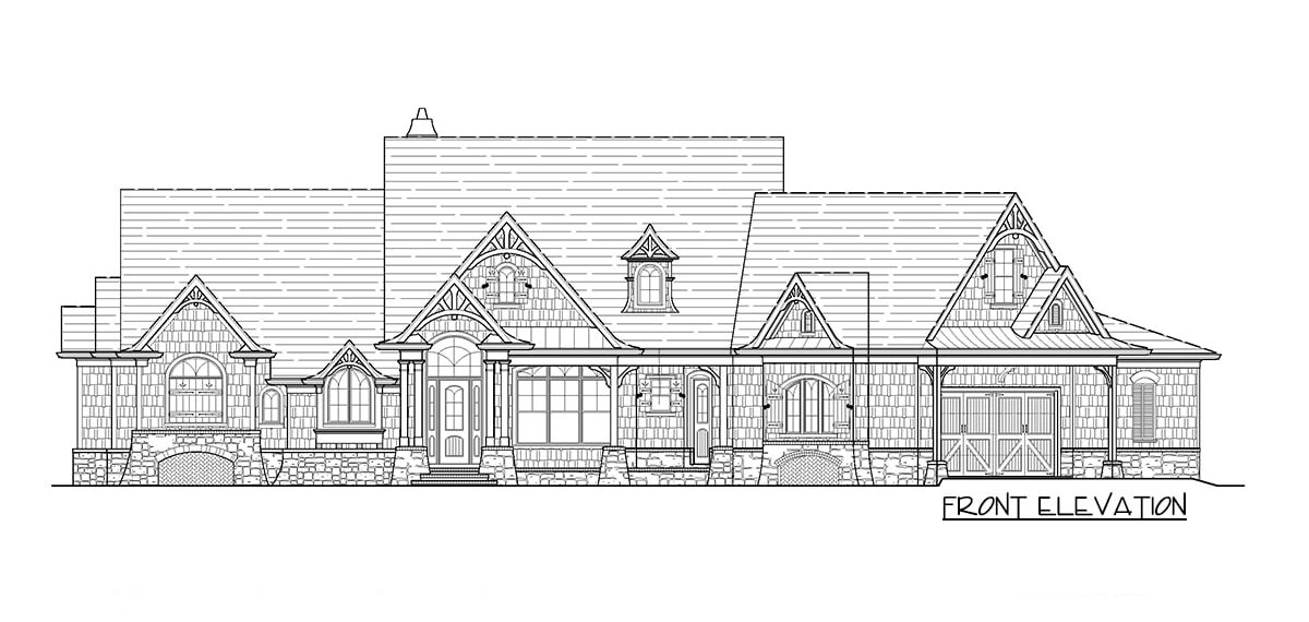 Front elevation sketch of the two-story 5-bedroom craftsman home.