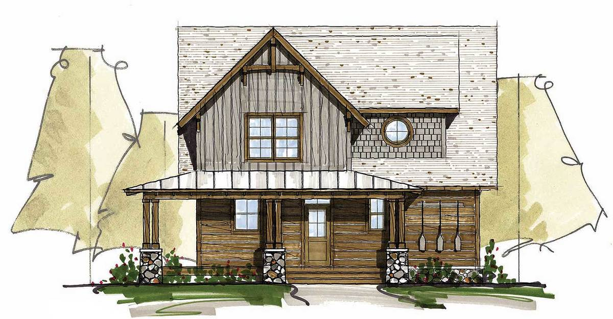 Front perspective sketch of the two-story 5-bedroom craftsman style home.