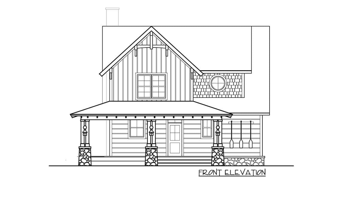 Front elevation sketch of the two-story 5-bedroom craftsman style home.