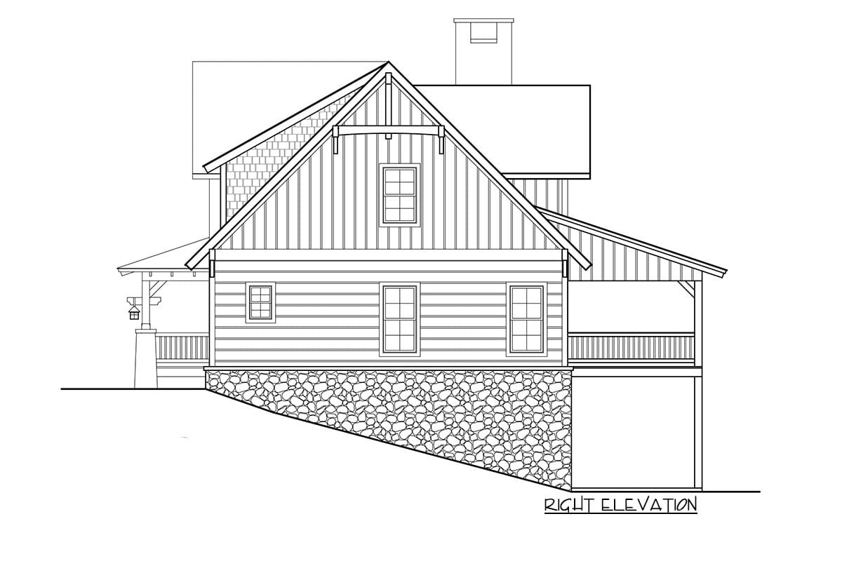 Right elevation sketch of the two-story 5-bedroom craftsman style home.