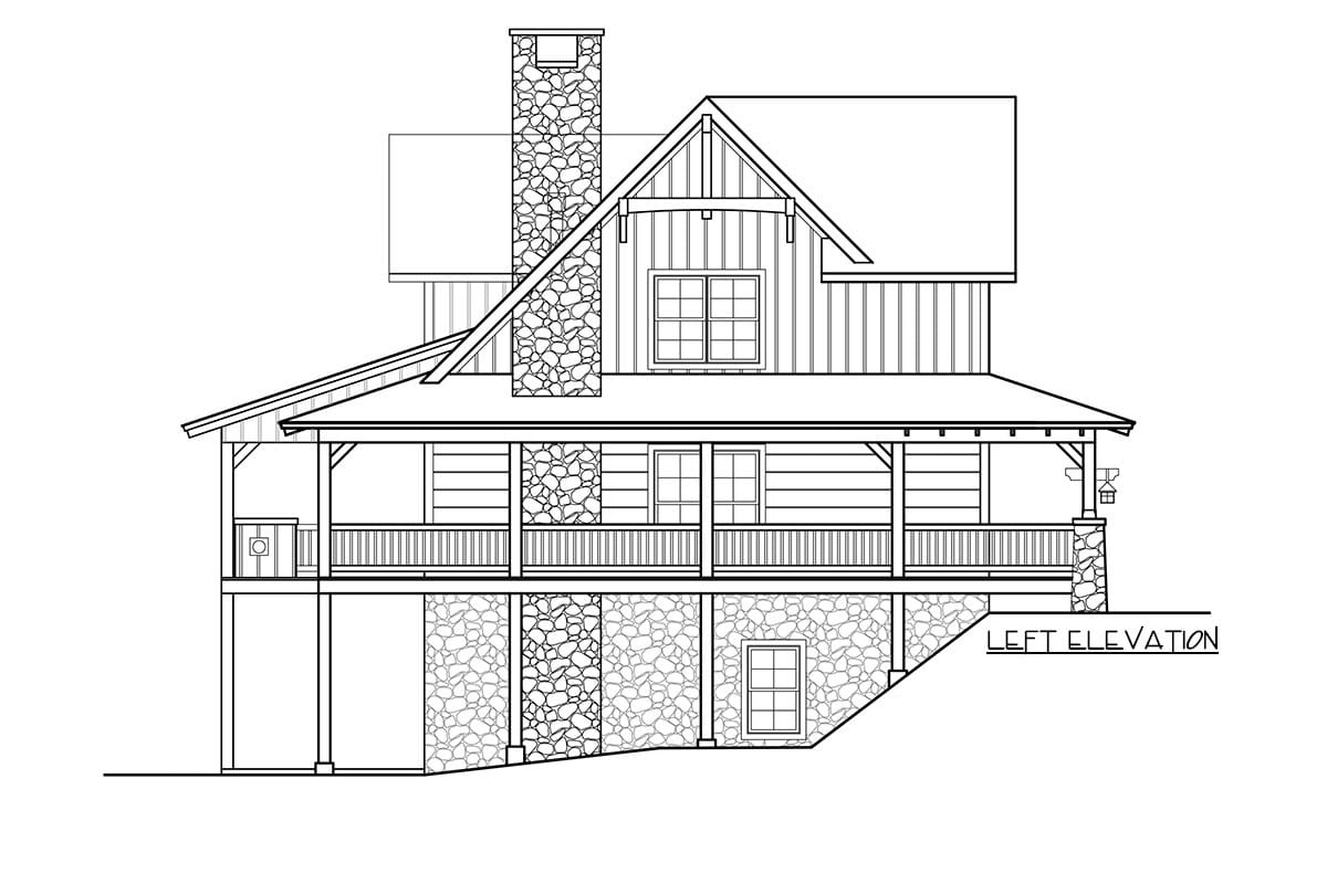 Left elevation sketch of the two-story 5-bedroom craftsman style home.