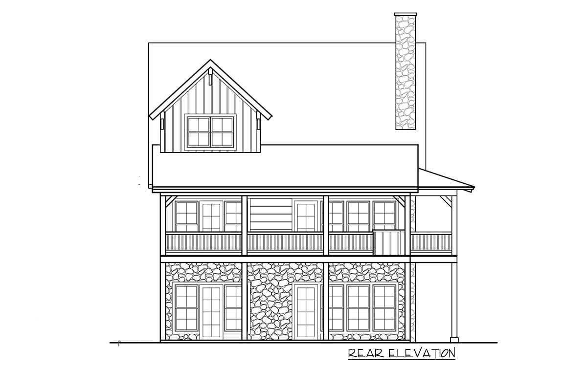 Rear elevation sketch of the two-story 5-bedroom craftsman style home.