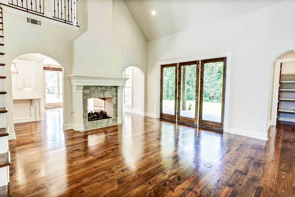 Glass doors on the right side lead out to the back porch.